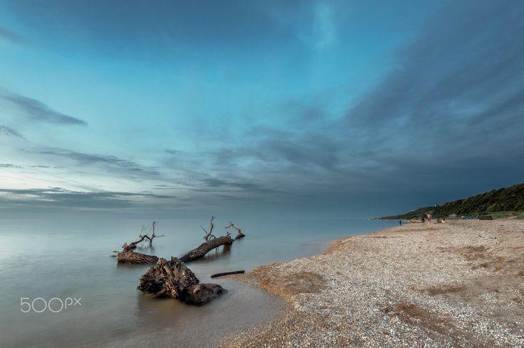 Summer Evening on the Sea of Azov - Azov coast near the lighthouse Golubitskij