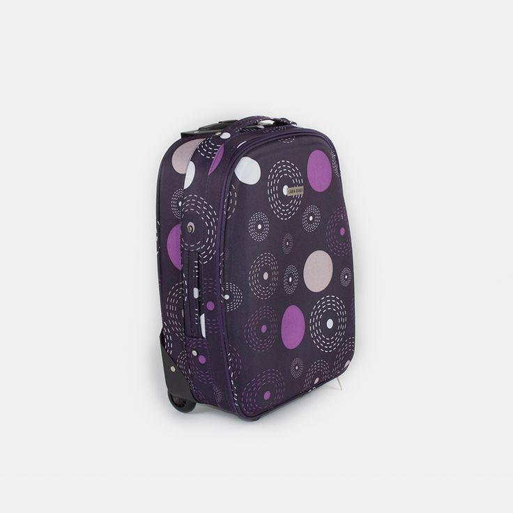 Kufor látkový fialový s bodkami malý