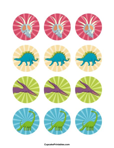 Dinosaur cupcake toppers. Use the circles for cupcakes, party favor tags, and more. Free printable PDF download at http://cupcakeprintables.com/toppers/dinosaur-cupcake-toppers/