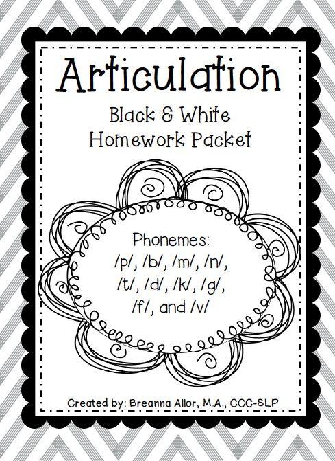 Featuring: Articulation Black & White Homework Packet — Breanna's Speech Blog