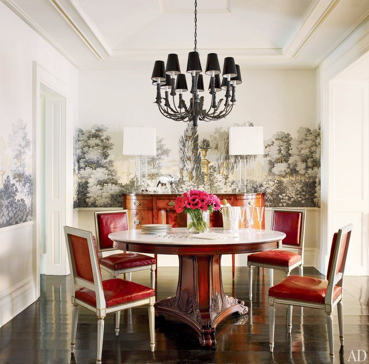 Brooke Shields' dining room with a wonderful grisaille wallpaper