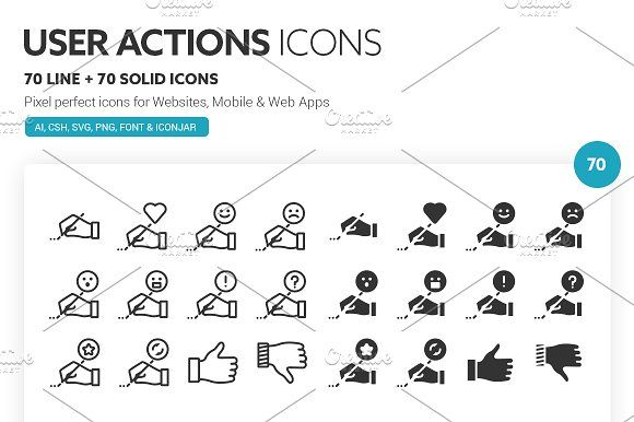 User Actions Icons by roundicons.com on @creativemarket