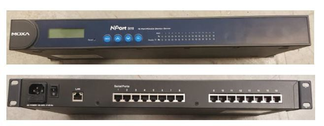 MOXA 16-Port Device Server, 10/100 Ethernet, RS-422/485, RJ-45, 15KV ESD, 110V
