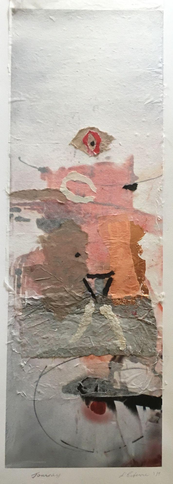 Elaine d'Esterre - Journey, 2017, digital print, collage and handmade paper, 75x25 cm. Also ART BLOG at http://elainedesterreart.com/ and http://www.facebook.com/elainedesterreart/ and http://instagram.com/desterreart/