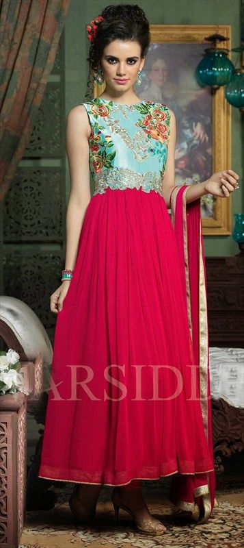 Oh so pretty! This #anarkali is winning our hearts. #Bridalwear #IndianWedding #Rose #FloralEmbroidery #SS15