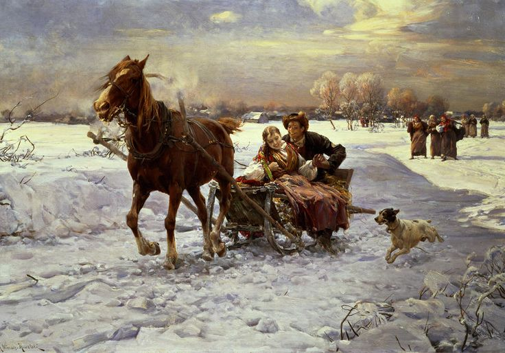 Lovers in a Sleigh by Alfred von Wierusz Kowalski {1849~1915} oil on canvas ~ horse ~ romance