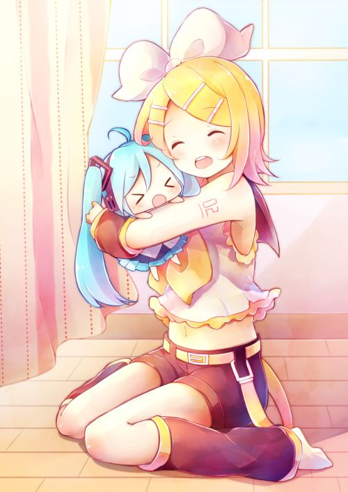 Vocaloid, Rin and Chibi Miku