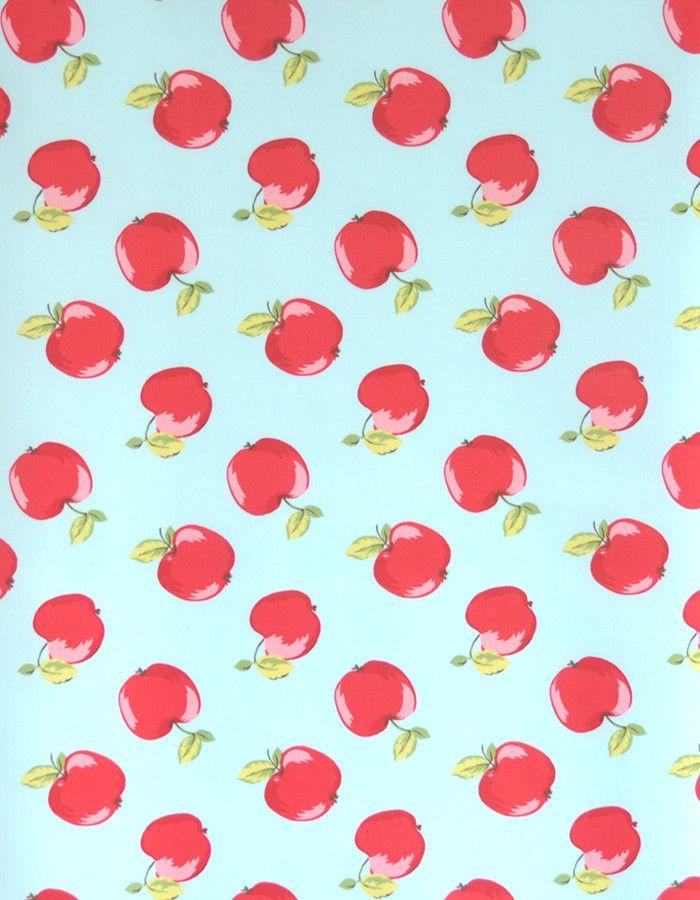 z. SAMPLE Oilcloth Fabric Apples Seafoam