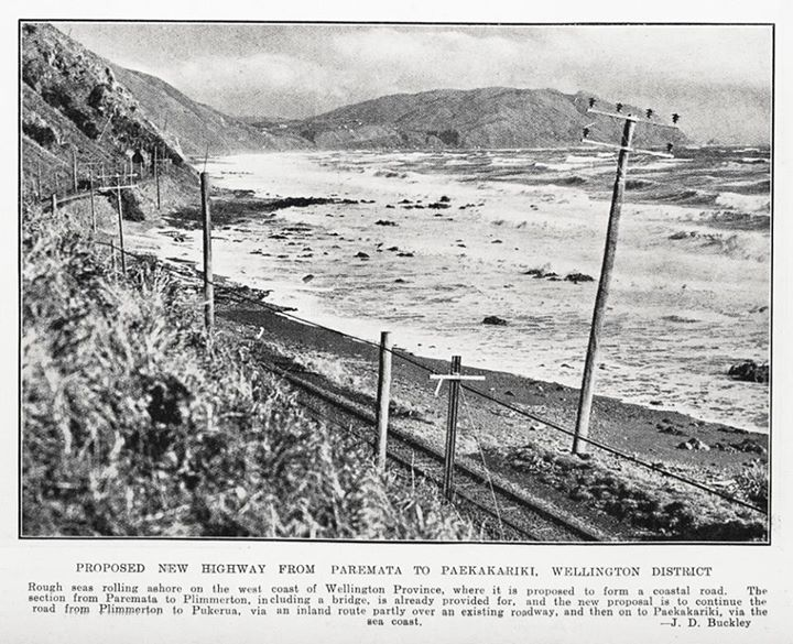 proposed highway PAREMATA to PAEKAKARIKI - 10 July 1935 Rough seas rolling ashore on the west coast of Wellington Province where it is proposed to form a coastal raod. The section from Paremata to Plimmerton, including a bridge, is already provided for and the new proposal us to continue tht road from Plimmerton to Pukeura, via and inland route partly over an existing roadway and then on to Paekakariki, via the seac coast Auckland Weekly News 10 July 1935