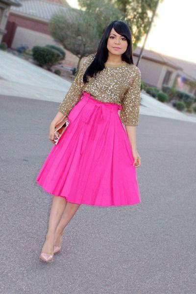 gold sequin shirt hot pink skirt - Google Search