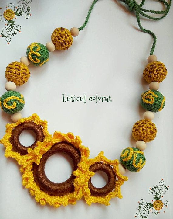 Sunflower necklace Nursing necklace Babywearing  by ButiculColorat