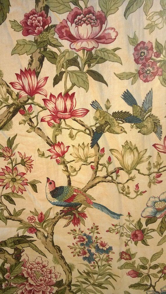 C1750-1780 Französisch Indienne Block gedruckt Stoff Vorhänge 4 Tropfen - back door - love this!