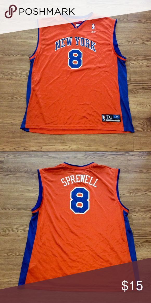 """Latrell Sprewell New York Knicks Jersey Measurements  Pit to Pit: 26"""" Top to Bottom: 34"""" Sleeve (From Neck): Reebok Shirts Tank Tops"""