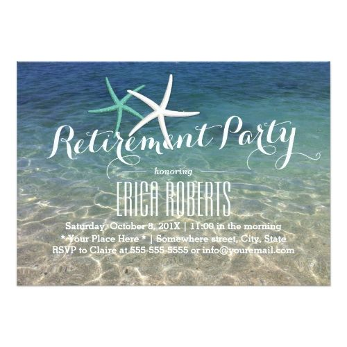 Retirement Party Invitations Tropical Beach Theme Starfish Retirement Party Card