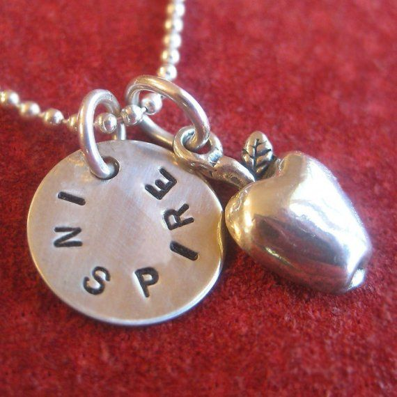 """Apple Necklace - Great Teacher Gift - Personalized with 1/2"""" Hand Stamped Disc - Sterling Silver Gift for Teachers $49"""