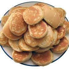 pikelets with jam cream or maple syrup