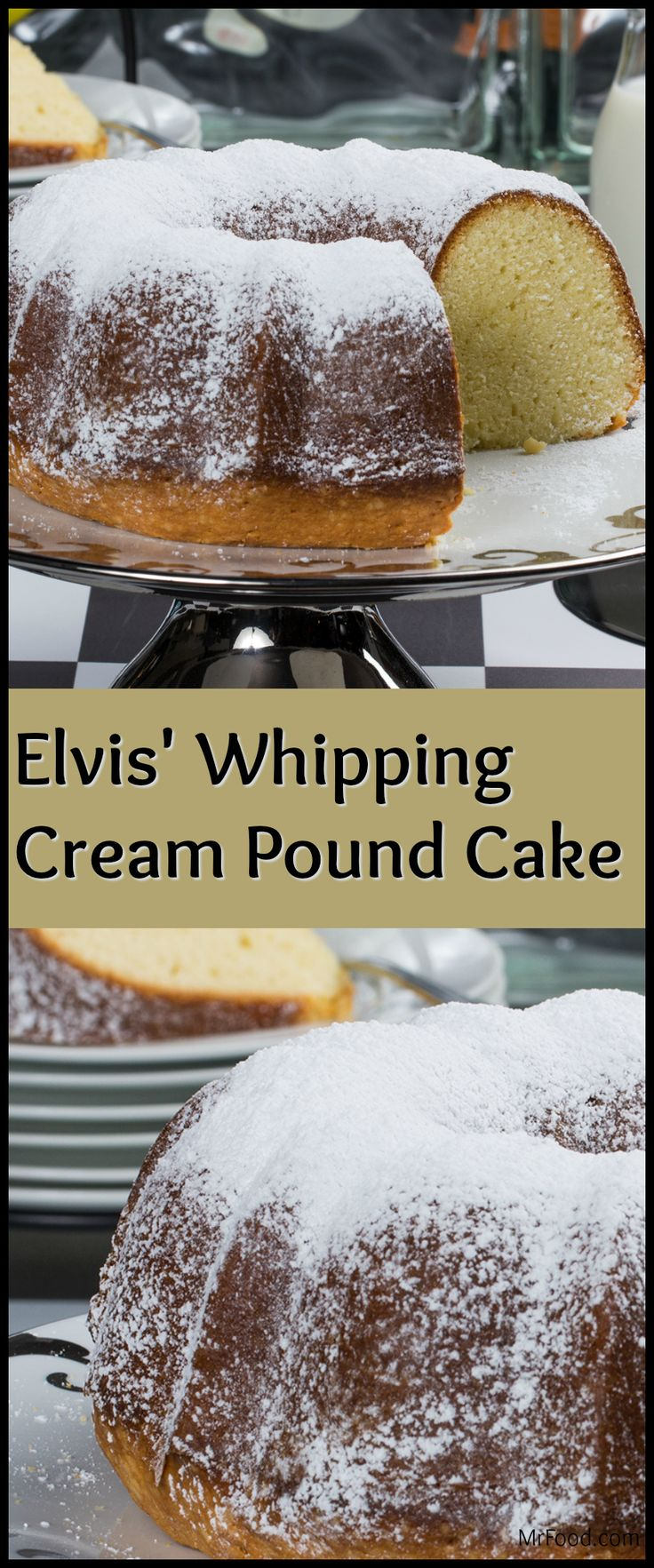 "Looking for a fun way to celebrate the ""King of Rock and Roll""? How about whipping up one of his favorite desserts? Our recipe for Elvis' Whipping Cream Pound Cake is inspired by the same pound cake that one of his childhood friends would make for him every year. It's a rich-tasting and moist pound cake with a perfectly golden crust!"