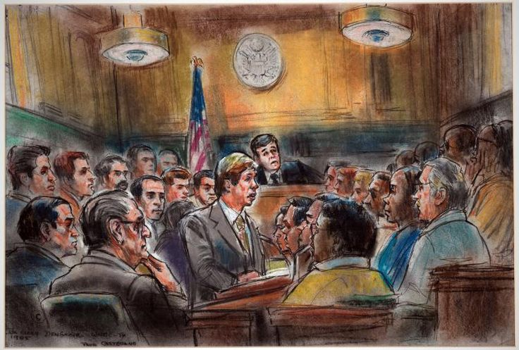 Paul Castellano and co-defendant, Joseph C. Testa Jr. appear in court during trial of Gambino crime family. Paul Castellano was assassinated shortly after this date. Courtroom sketch by Ida Libby Dengrove.