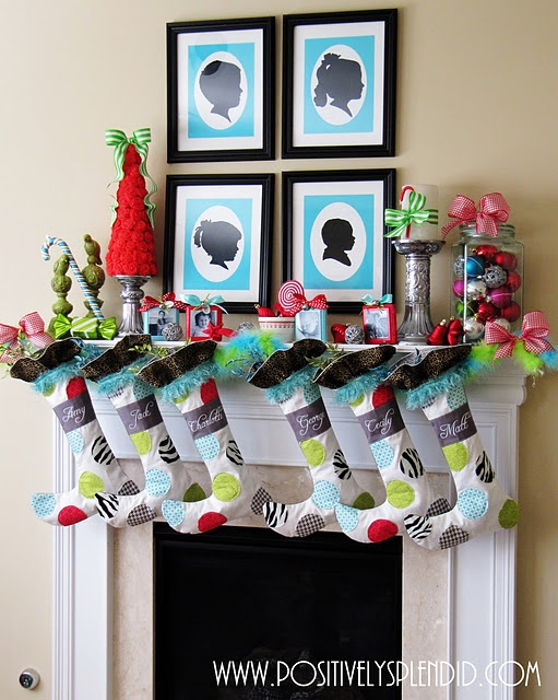 Whimsical Christmas Mantel Decor from Positively Splendid.  Fun bright colors!