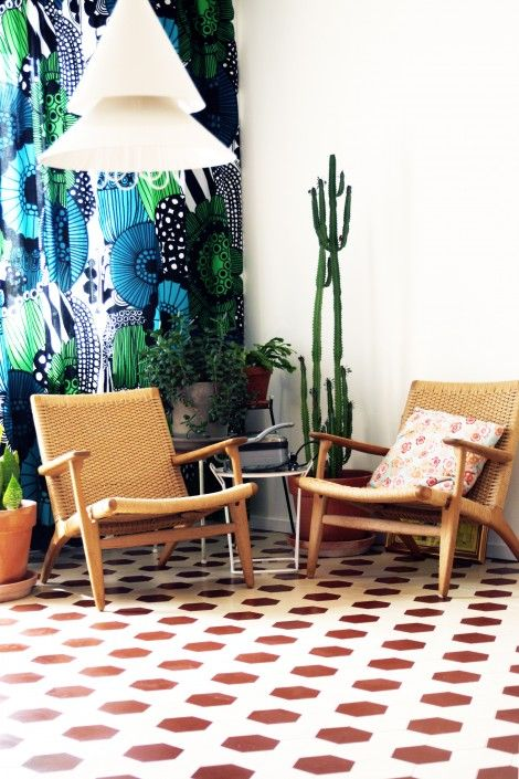 Victorian Floor Tiles - Original Style. Here's a shot of our tiles in situ from one of our Swedish clients. They combine traditional style tiles with flashes of bright pattern to make an eclectic but trendy interior. originalstyle.com