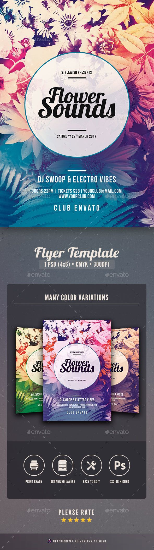 Flower Sounds Flyer Template PSD