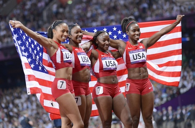 USA relay members from left: Allyson Felix, Carmelita Jeter, Bianca Knight and Tianna Madison WORLD RECORD!!  Inspiration for us all knowing it will come.