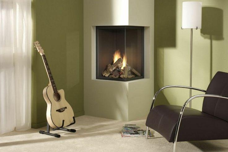 habillage cheminée moderne design idée fauteuil marron tapis blanc design