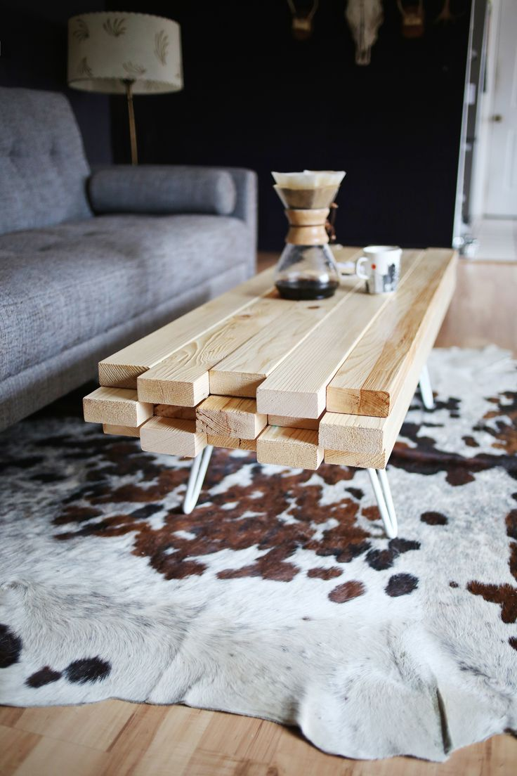 DIY Wooden Coffee Table...they say EASY project from 2x4s. I say PERFECT for my living room!!!