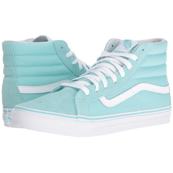 Vans SK8-Hi Slim (Aruba Blue/True White) Skate Shoes (450 DKK) ❤ liked on Polyvore featuring shoes, sneakers, vans sneakers, vans high tops, vans shoes, high top sneakers and white shoes