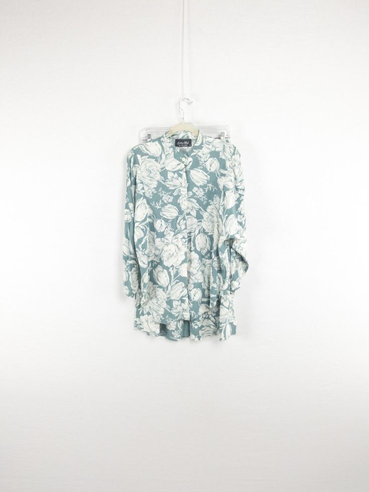 Rad Floral Print Matching Outfit Set of Maxi Skirt & Banded Collar Shirt