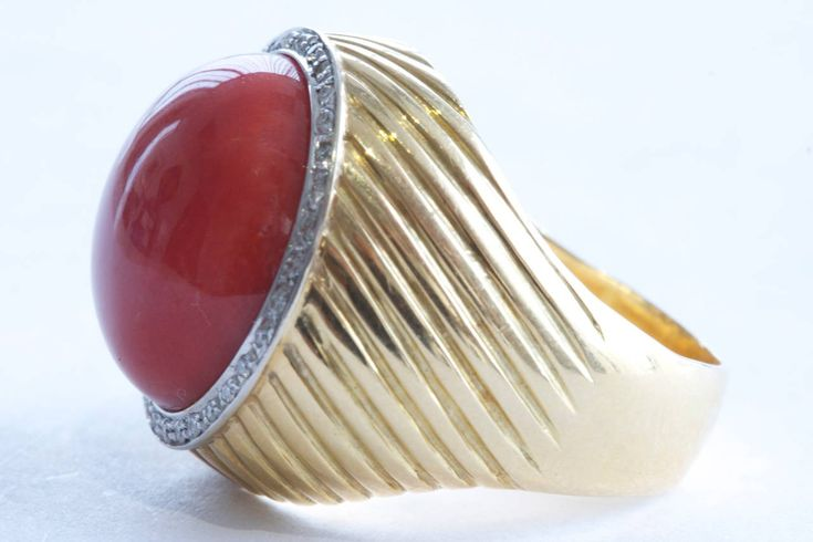 Ox Blood Coral Diamond Gold Ring   From a unique collection of vintage more rings at https://www.1stdibs.com/jewelry/rings/more-rings/