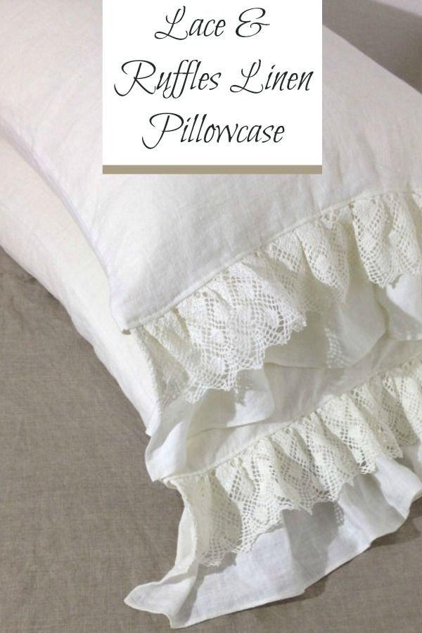 Lace and Ruffles Linen Pillowcase. Romantic Shabby Chic Antique Sham Pillowcase. So beautiful! #farmhouse #farmhousedecor #farmhousestyle #shabbychic #linen #vintagestyle #frenchcountry #etsy #etsyfinds #affiliatelink