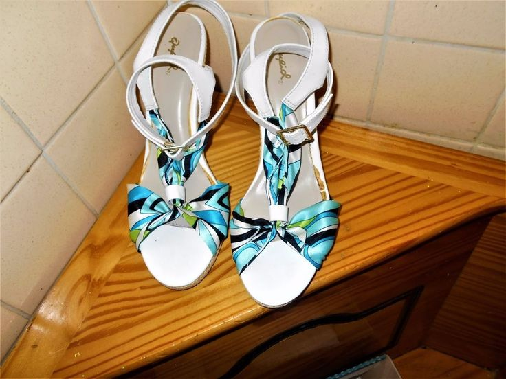 Qupid Platform Shoes Size 10 Ankle Straps Black, White. Blue Print EUC #Qupid #PlatformsWedges #CasualBeach