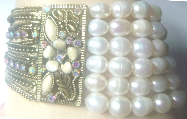 BRACELET Freshwater White Potato Pearls Antiqued Brass Chain Crystals Stretch #UNBRANDED #Beaded