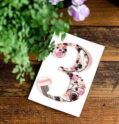 CPS Boutique handmade quilling table number.