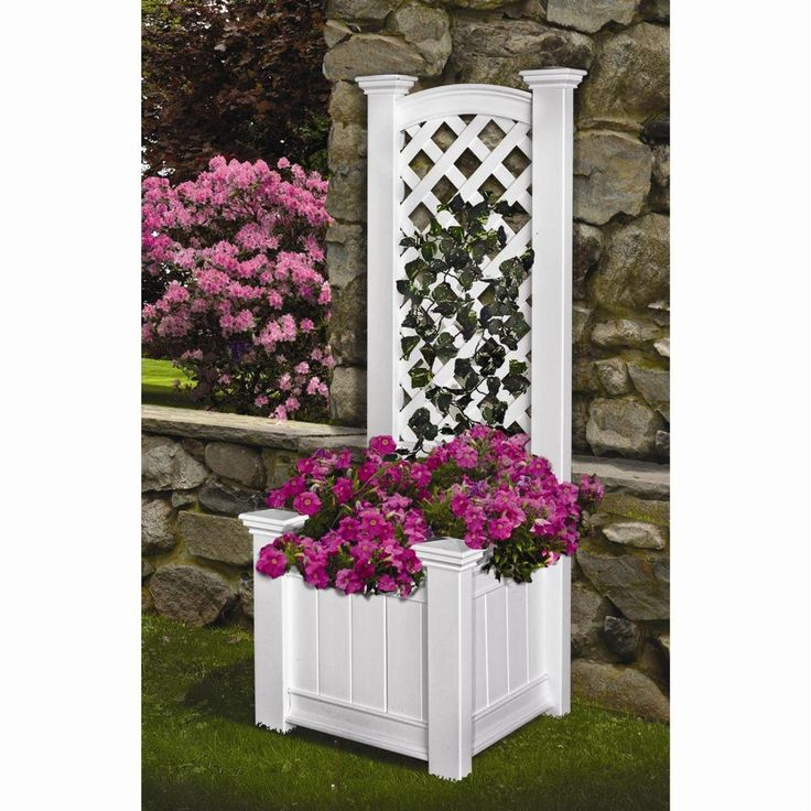 Eden Arbors Kensington 23 in. x 65 in. Planter Box and Trellis, Whites