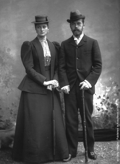 Tsar Nicholas II & Tsarina Alexandra. She always looks so sad and worried.