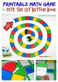 """Crystal and Co has a FREE Pete the Cat Math Game printable. This game coordinates with the Pete the Cat """"Button"""" book. She includes all the printing instruc"""