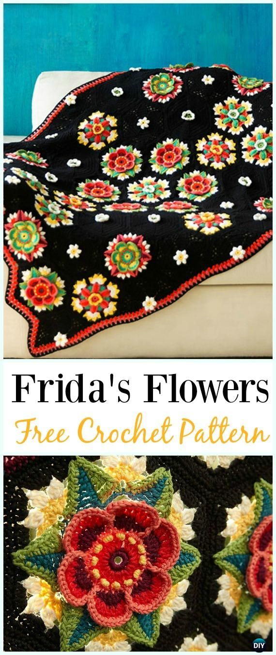 Crochet Frida's Flowers Blanket Free Pattern - #Crochet; Flower #Blanket; Free Patterns