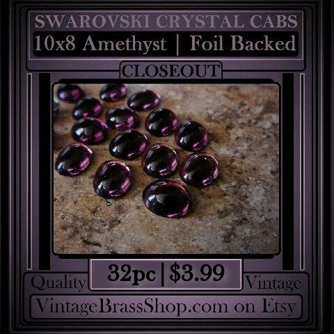 32PC 10X8MM #VINTAGE #AMETHYST SWAROVSKI CRYSTAL #CABS    Genuine #SwarovskiCrystal from about the 70's    You receive 32 stones. Undrilled (no hole).    Some of the silver foil backing is showing some dings due to age but it doesn't affect the overall beauty of these lovely vintage stones. If you stare straight into the face of some of the stones you would be able to detect occasional spots deep within the stone (due to foil dings) but they are really not noticeable to the normal eye unless…