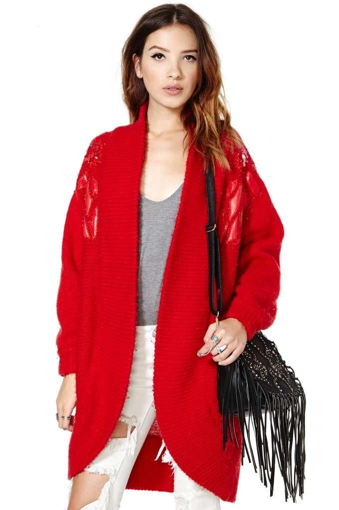 Red Red Twine Sweater Cardigan