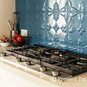 Kitchen SplashBack Wedgewood Blue. Pressed tin can be color-matched to complement your design scheme.
