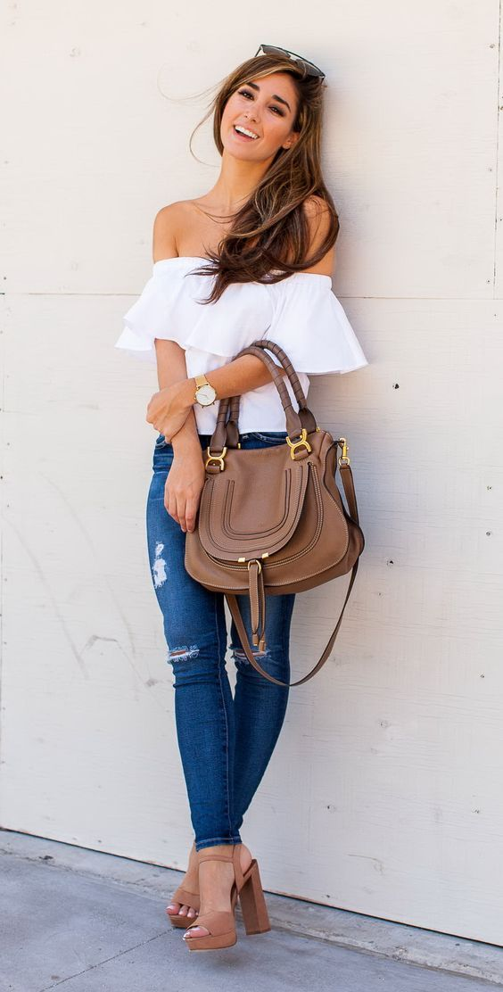 late summer outfit. off the shoulder
