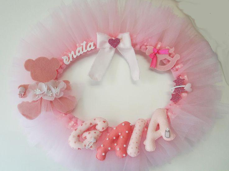 Ghirlanda rosa nascita in tulle e feltro. - Pink Tulle & felt Wreath with Name