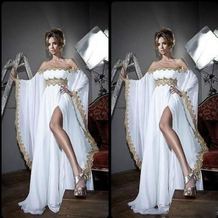 Arabischen Stil Long Sleeves Brautkleider Gold Spitze Appliques Chiffon Abaya Kaftan Abendkleider Mit Hoher Split Slit Party Kleider //Price: $US $143.65 & FREE Shipping //     #cocktailkleider