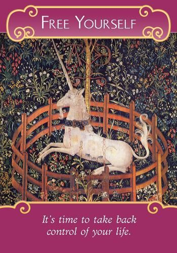 """Like the unicorn in the image on this card, you may be feeling trapped. Perhaps you've relinquished control to someone else, or maybe you feel smothered in your career or relationship. As you tune in to yourself, you'll sense the specific areas where this message applies to you. You can even ask yourself, """"In what ways do I feel limited or constrained?"""" Trust the answers you receive! This card comes to you from the Romance Angels because they've heard your call for great love. To…"""