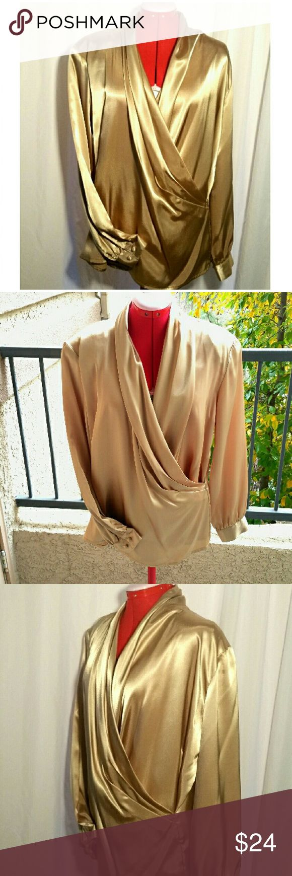 """SALE! Vtg Liquid Gold Satin Blouse - Plus Size STUNNING! You'll be sure to get raves wearing this to your holiday party! Wear it with black velvet slacks or skirt! This gorgeous, liquid gold blouse features a surplice neckline and ruched shawl collar in back The covered button cuffs are gently gathered to the long sleeves. It also has shoulder pads The satin-like fabric seems to flow! Great condition!  Tan-Jay/Nygard, size 16, fits 1X/2X 18.5"""" across shoulders 24.5"""" armpit to armpit (49"""")…"""