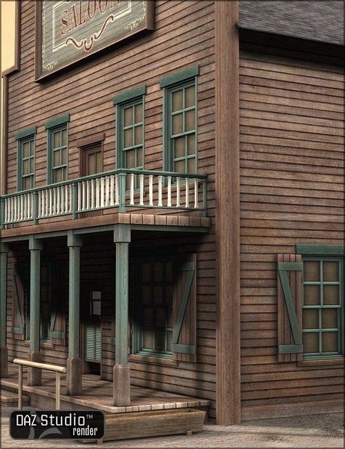 Old West Saloon 3D Building Model | 3D Models and 3D Software by Daz 3D