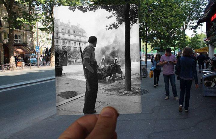 Un trabajo con fotos superpuestas muestra las diferencias de París hoy y en 1940