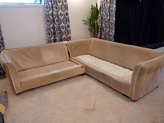 DIY: make your own L-shaped sofa out of two couches (loveseat and couch). Need to have square lines. Here is full tutorial.